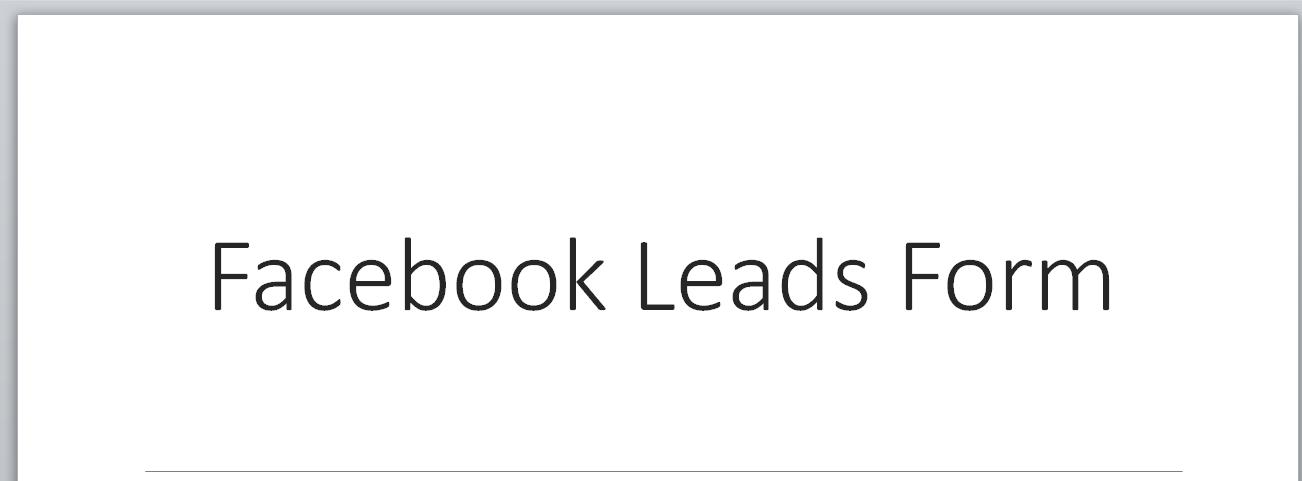 Hướng dẫn kết nối với Facebook Leads Form