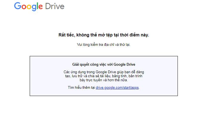 Khi kết nối Google Form bị báo lỗi không thể mở tệp chạy mã code